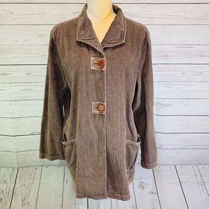 J Jill Corduroy Brown Jacket Blazer Coat Size L